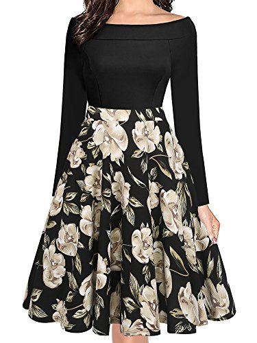oxiuly Women's Casual Pockets Long Sleeve Off Shoulder Floral Flare Swing Party Dress OX232 (XL, Black Long)