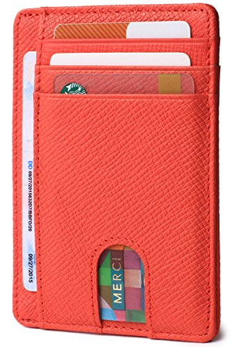 (Slim Minimalist Front Pocket RFID Blocking Leather Wallets for Men & Women (Cross Red))