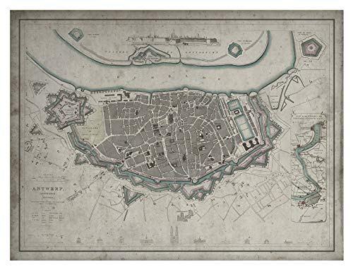 Archive Print Co. Antwerp Map Wall Decor Circa Early 19th Century, Framed Map Options Available (18