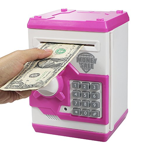 - Elemusi Cartoon Electronic Password Mini ATM Piggy Bank Cash Coin Can Auto Scroll Paper Money Saving Box, for Children Kids (Pink)