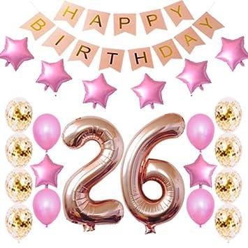 Amazon.com: Decoración para 26 cumpleaños, suministros para ...