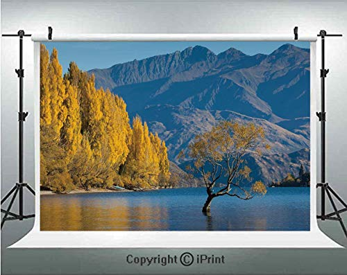 Nature Photography Backdrops Sunken Tree Lake on Mountain Range Exquisite Rural New Zealand Scenery,Birthday Party Background Customized Microfiber Photo Studio Props,10x6.5ft,Earth Yellow Light Blue