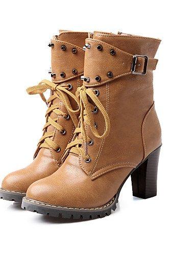 Eu39 Cn39 Vestido Uk6 negro us8 Botas Trabajo Redonda Mujer Robusto Casual De Punta Sintético Oficina Tacón Cerrada Zapatos Xzz Cuero Y Brown w7HSqn1