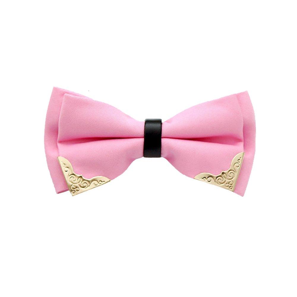 Bowtie Mens Metal Pre-Tied Formal PU Leather Satin bowtie Adjustable Length Wedding Business Necktie