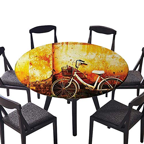 Easy-Care Cloth Tablecloth Vintage Bike in Front of A Rusty Dirty Cracked Broken Brick Wall City for Home, Party, Wedding 43.5