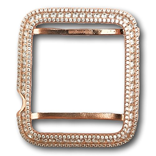 Series 1 Apple Watch Bezel Case Rose Gold Plated Lab Diamonds 42mm by Brumar