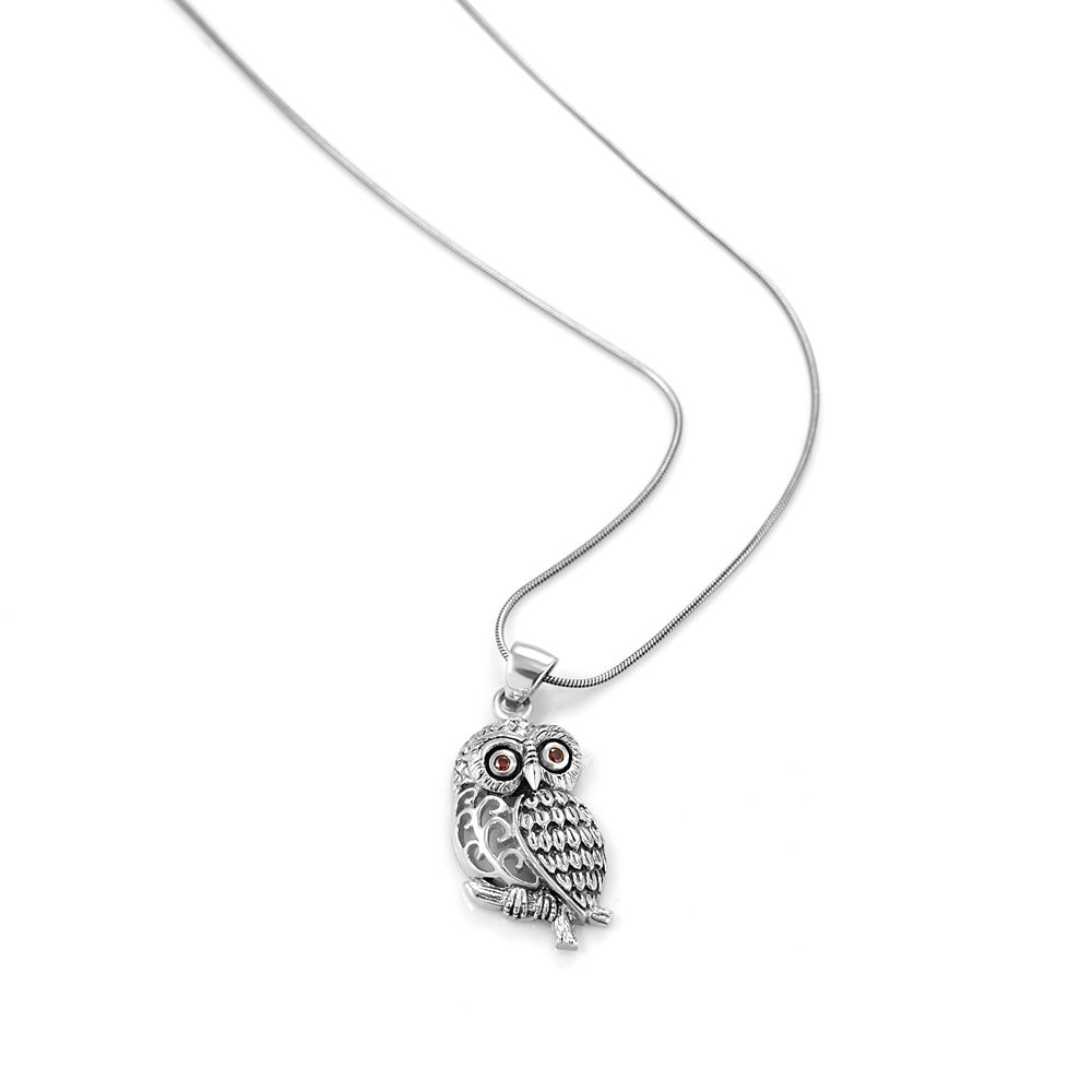 Chuvora 925 Oxidized Sterling Silver Filigree Red CZ Eye Detail Owl Tree Branch Pendant Necklace, 18 inches