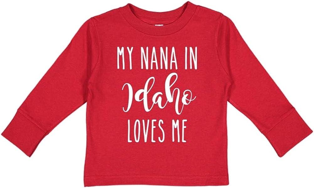 Toddler//Kids Long Sleeve T-Shirt My Nana in Idaho Loves Me