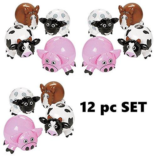Inflatable Farm Animals - Set of 12 ( Pigs, Cows,Sheep, Horses) Farm Barnyard Party Decorations beach (Beach Animal)