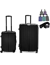 2 piece Lightweight Luggage Sets Glossy Suitcase Sets with Multidirectional Wheels (20&28)