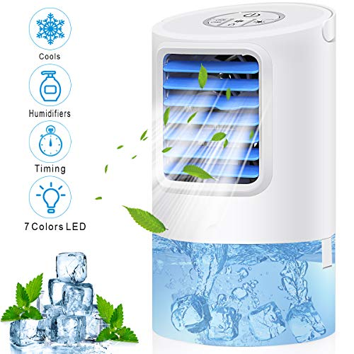 Portable Air Conditioner Fan,Personal Desk Fan Space Air Cooler Mini Table Evaporative AC Ultra-Quiet Purifier Cooling Fan with Handle and 7 Colors LED Lights for Home, Office, Dorm (Best Personal Space Cooler)