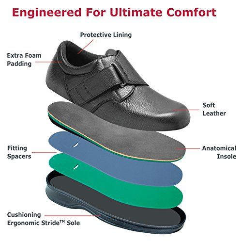 Orthofeet Proven Foot Pain Relief Orthopedic Diabetic Arch Support Arthritis Adjustable Strap Mens Shoes Broadway Black
