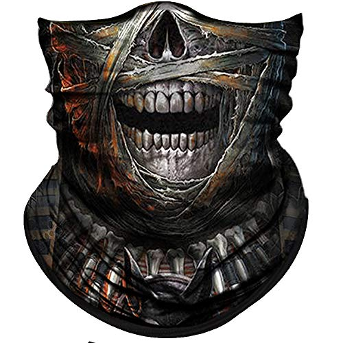 Obacle Skull Face Mask Half Sun Dust Wind Protection 3D Tube Mask Seamless Face Mask Bandana Headwear Skeleton Face Mask Motorcycle Bike Riding Cycling Festival (Skull Grey Mummy Open Mouth)