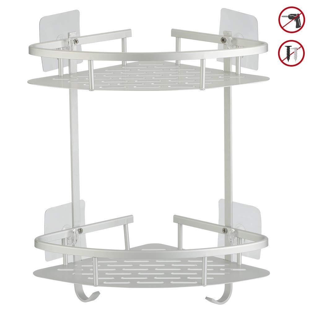 Hawsam No Drilling Bathroom Corner Shelves, Aluminum 2 Tier Adhesive Shelf Basket for Shampoo