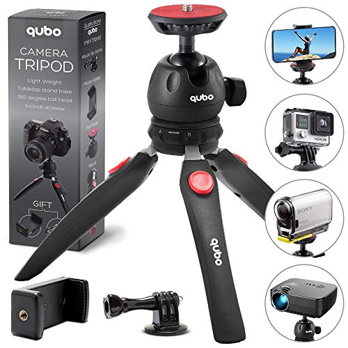 qubo Premium Mini Tripod Camera Holder - Tabletop Small Cell Phone Tripod Mount for GoPro iPhone and Any Mobile Phones Webcam Projector Compact DSLRs - Desktop Phone Holder Hand Table Top from qubo