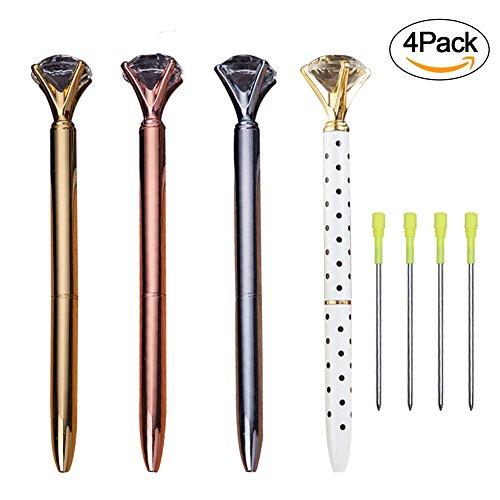 Wordmo 4 Packs Rose Gold Pen With Big Bling Crystal/Rhinestone Diamond Metal Ballpoint Pen-Black Ink Rhinestone Pen