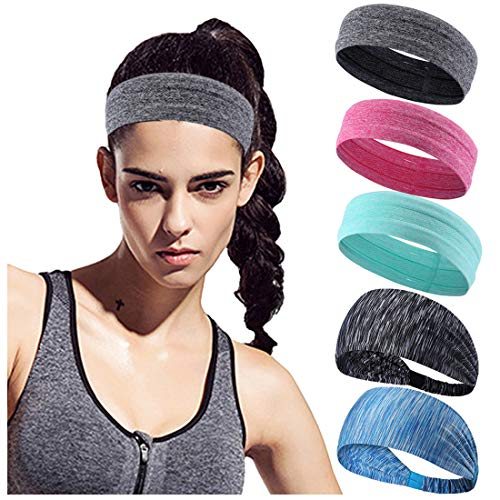 Bar Headband - Sports Headbands -Sweatbands Moisture Wicking Athletic Wristbands Pack of 6 for Men and Women Running Yoga Crossfit Workout Wide Stretchy Headwear (5 Pieces Headbands)