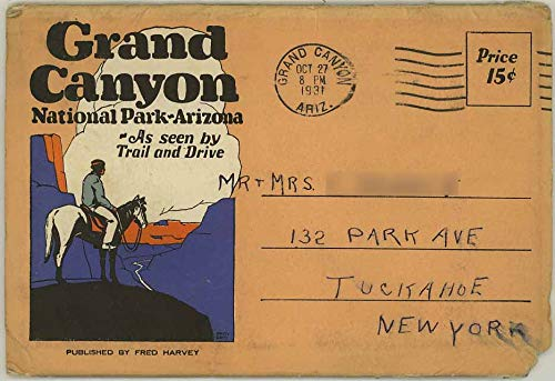 Grand Canyon National Park Arizona - 1931 Fred Harvey Souvenir Postcard Folder