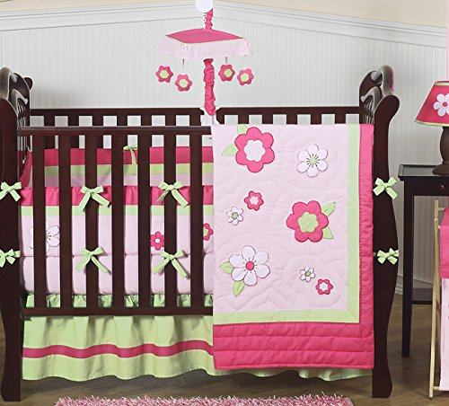 Sweet Jojo Designs Pink and Green Flower Collection Wall Art Hangings