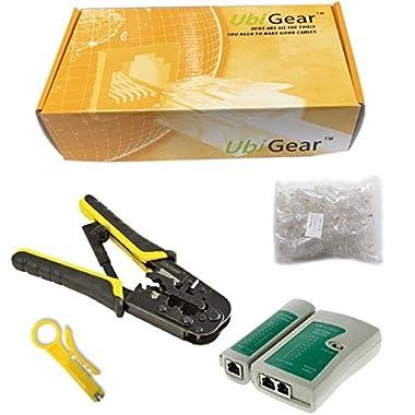 UbiGear Cable Tester +Crimp Crimper +100 RJ45 CAT5 CAT5e Connector Plug Network Tool Kits (Crimper568R)