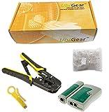 UbiGear Cable Tester + Crimp Crimper +100 RJ45 CAT5 CAT5e Connector Plug Network Tool Kits (Crimper568R)