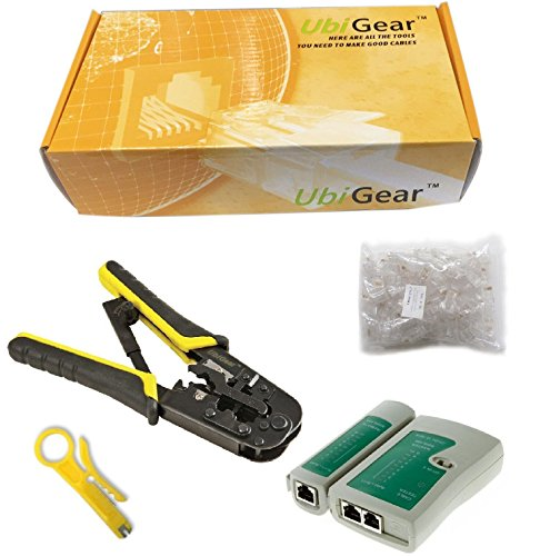 UbiGear Cable Tester +Crimp Crimper +100 RJ45 CAT5 CAT5e Connector Plug Network Tool Kits (Crimper568R)