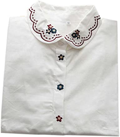 Camisa Blanca Simple Blusa Bordada Mujer Blusas Manga Larga Blusas, 03: Amazon.es: Ropa y accesorios