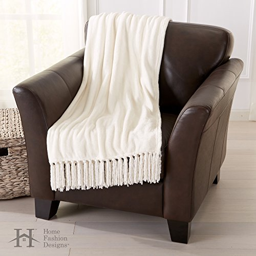 Merveilleux Lightweight, Warm Throw Blanket With Decorative Fringe. Raya Collection By  Home Fashion Designs Brand. (Eggnog)