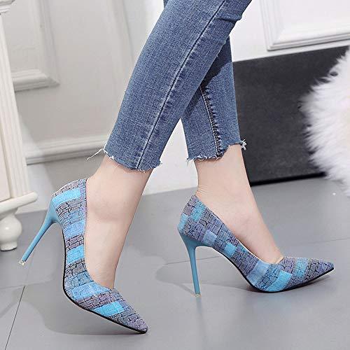7a0aeef4004a33 Talons Chaussures Aiguille Plateforme Escarpins Cérémonie Bride Femmes Sexy  Femme Cheville Vernis Mariage Soiree Bleu Fermeture Subfamily Club Lacets  ...