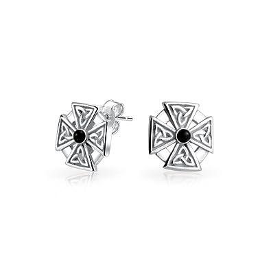 134e4d10f Bling Jewelry Maltese Corss Dyed Black Onyx Celtic Knot Sterling Silver  Stud Earrings: Amazon.co.uk: Jewellery