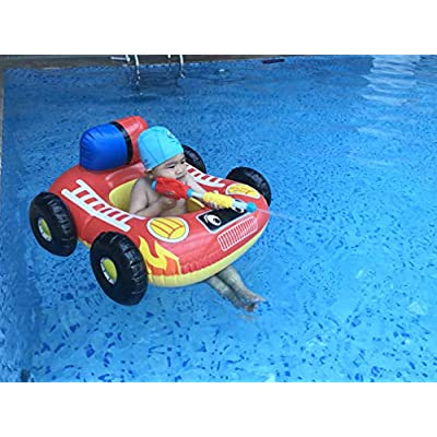 Big Summer Inflatable Fire Boat Pool Float for Kids with Built-in Squirt Gun, Inflatable Ride-on for Children Aged 3-7 Years: Toys & Games