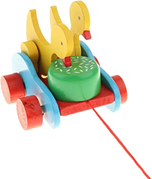Toygogo Jouet /À Tirer en Bois Canard Roulant Jeu de Formes Jouets Montessori Enfants Jouets A Main 4 5 6 Ans Canard
