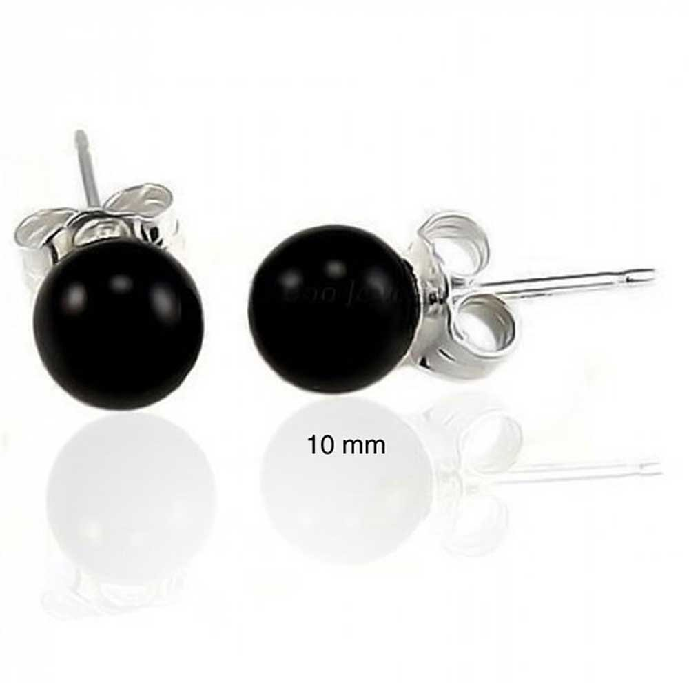Dyed Black Onyx Ball Stud earrings 925 Sterling Silver 10mm