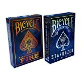 Bicycle Stargazer & Fire Elements Series Playing Cards Bundle, 2 Decks