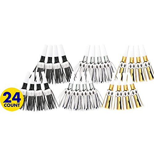 33020 New Year Foil Fringe Blowout Noisemakers   Party Supply TradeMart Inc 12 Ct
