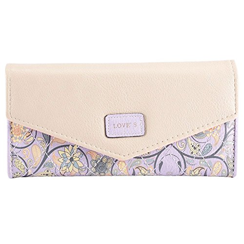 Wallet Purse eZoneUK® Coin Floral Purple Handbag Fashion Womens Clutch Leather Bowknot Lady's Print qzArqvP
