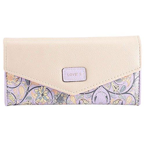Wallet Purse eZoneUK® Coin Floral Purple Handbag Fashion Womens Clutch Leather Bowknot Lady's Print qzArqvP