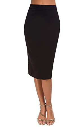 792dbd655e Womens Office Hip-Wrapped Midi Bodycon Pencil Skirt with Back Split Below Knee  Black