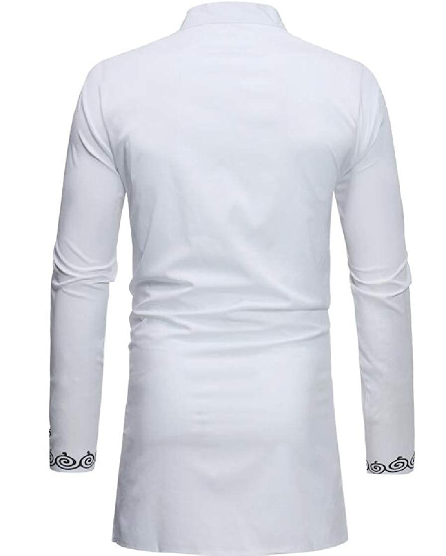 Etecredpow Mens Stand Collar Classic Slim Fit Top Print Shirt