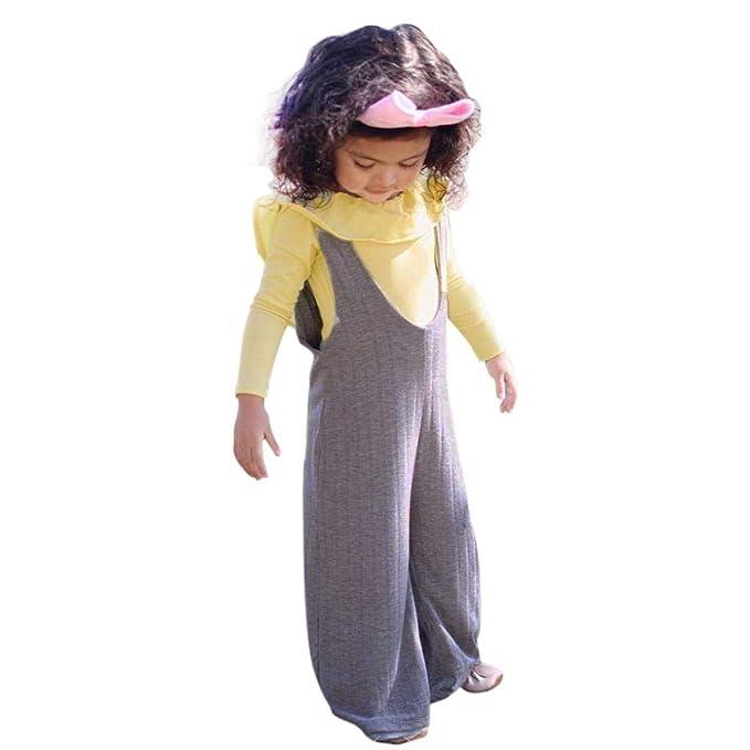 Conjuntos Bebe, ASHOP 0-5 años Niño Niña Otoño/Invierno Ropa Conjuntos, Volantes sin Respaldo Tops + Pantalones con Tirantes a Rayas: Amazon.es: Ropa y ...