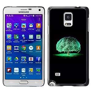 Qstar Arte & diseño plástico duro Fundas Cover Cubre Hard Case Cover para Samsung Galaxy Note 4 IV / SM-N910F / SM-N910K / SM-N910C / SM-N910W8 / SM-N910U / SM-N910G ( Brain Tree Mystical Nature Neon Black)
