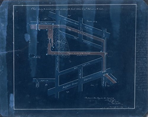 18 x 24 Blueprint Style Reproduced Old Map of: 1822Plan shewing the present & proposed directions of the Canal between 3d & 7th Street West on the Mall : [Washington - Columbia Map Mall Of