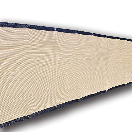 (Alion Home Heavy Duty Privacy Screen Fence Mesh Windscreen for Backyard Deck Patio Balcony Pool Porch Railing - Black Trim - Beige(35''x 7'))