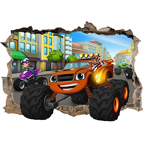 BLAZE AND THE MONSTER MACHINES SMASHED WALL STICKER - BEDROOM ART KIDS MURAL 18