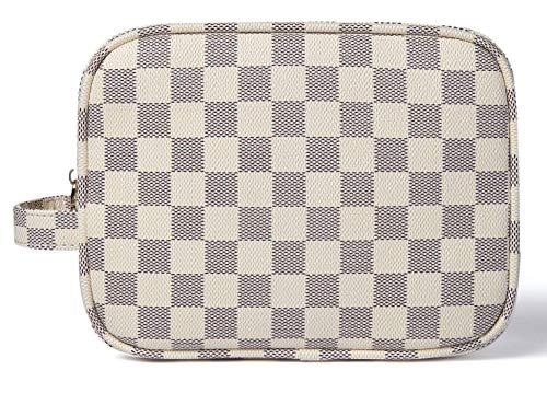 (Daisy Rose Luxury Checkered Make Up Bag | PU Vegan Leather Cosmetic toiletry Travel bag (Cream))