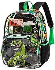 """Kids Rugzak Transparante Schooltas Jongens Meisjes Basisschool Rugzak PVC Dagrugzak Clear Nursery Bag voor Peuter Kinderen Waterdicht Lichtgewicht Laptop Satchel, Groene dinosaurus, 16.5"""","""