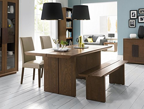 Coastlink Westin Walnut Dining Table Set for 6 - Bonded Leather Chairs and Bench
