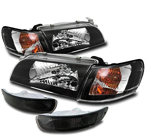 Jdm Crystal Black - ZMAUTOPARTS Toyota Corolla Crystal Head Lights+Corner+Bumper Signal JDM Black