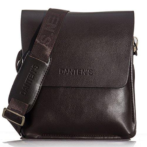 OFTEN Men's Genuine Leather Handbag Shoulder Briefcase Business Bag iPad Mini Bag Business Bag (Leather Man Bag)