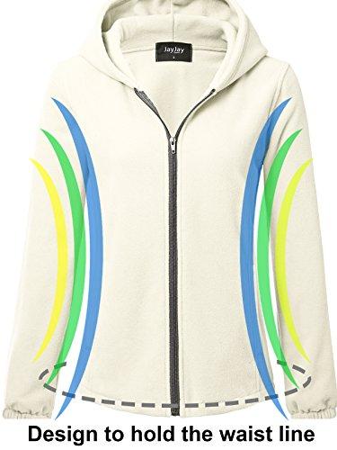 JayJay Women Ultra Soft Fleece Long Sleeve Hoodie Jacket,Beige,M by JayJay Active (Image #5)